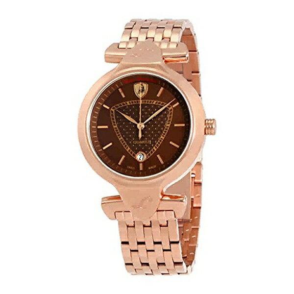 ランボルギーニ 腕時計 時計 Lamborghini Spyder 38 Brown Dial Ladies Rose Gold Tone Watch LR38-02