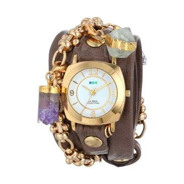 ラメール コレクションズ 腕時計 La Mer Collections LMTOPANGA001 レディース ウォッチ 女性用 La Mer Collections Women's LMTOPANGA001 Topanga Removable Crystal Gold Odyssey Case White Dial Mushroom Gold Leather Watch