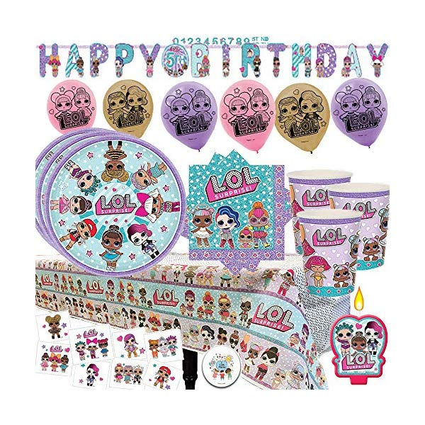 LOLサプライズ グッズ パーティーセット LOL Surprise Mega Deluxe Party Supply Pack and Decorations for 16 Guests with Plates, Cups, Napkins, Tablecover, LOL Candle, Tattoos, 6 Balloons, Birthday Banner, and EXCLUSIVE Birthday Pin by Another Dream!画像