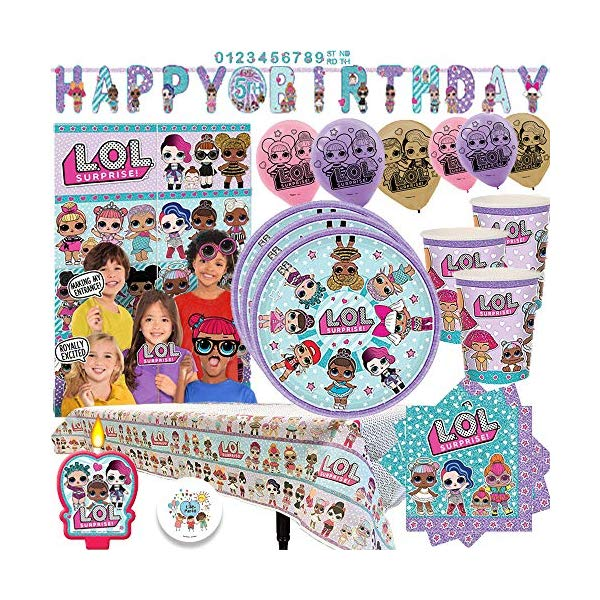 LOLサプライズ グッズ パーティーセット L.O.L. Surprise Party MEGA Pack with Decorations for 16 Guests With Plates, Cups, Napkins, Tablecover, Birthday Candle, Scene Setter with Props, 6 Balloons, and an EXCLUSIVE Birthday Pin by Another Dream!画像