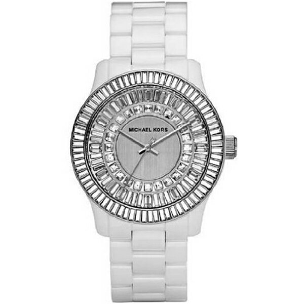 マイケルコース Michael Kors レディース 腕時計 時計 Michael Kors Analog Quartz White Ceramic Crystal Glitz Baguette Womens Watch MK5361:i-selection