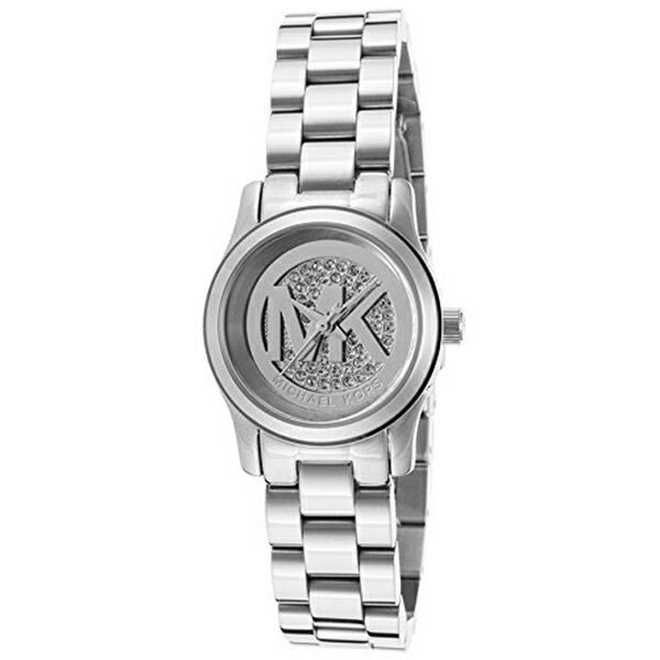 マイケルコース Michael Kors レディース 腕時計 時計 Michael Kors Petite Runway Silver Pave Dial Stainless Steel Ladies Watch MK3303