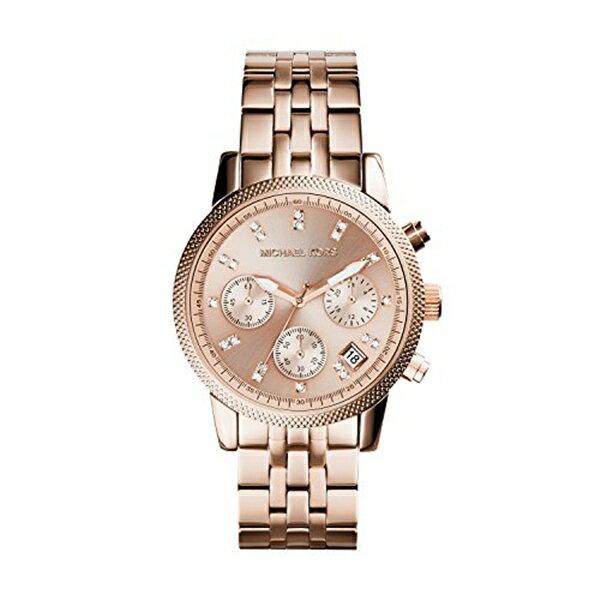 マイケルコース Michael Kors レディース 腕時計 時計 Michael Kors MK6077 Ladies Ritz Rose Gold Plated Chronograph Watch
