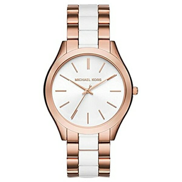 マイケルコース Michael Kors レディース 腕時計 時計 Michael Kors MK4311 Slim Runway Two-Tone White Acetate Rose Gold Stainless Steel Women's Watch