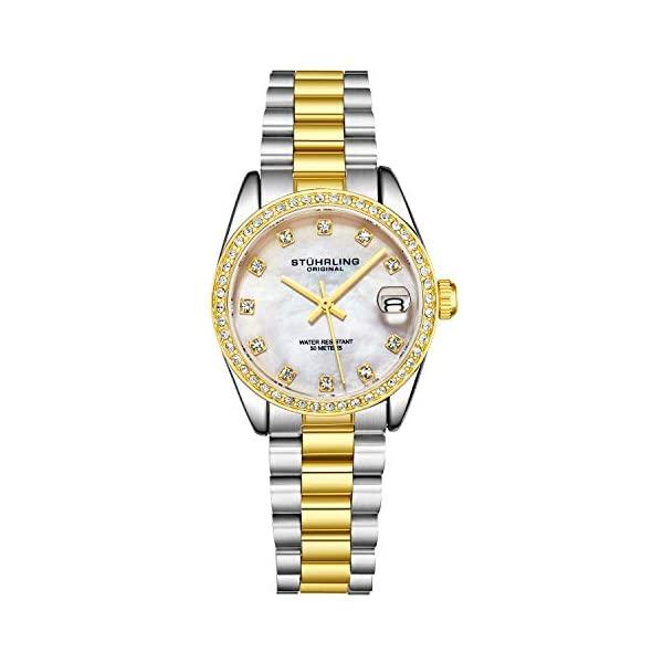腕時計, レディース腕時計  3936.6 Womens Dress Watch - Stainless Steel Link Bracelet Quartz Movement Analog Watch Dial with Date - Dress and Casual Design Lineage Watches for Women Collection