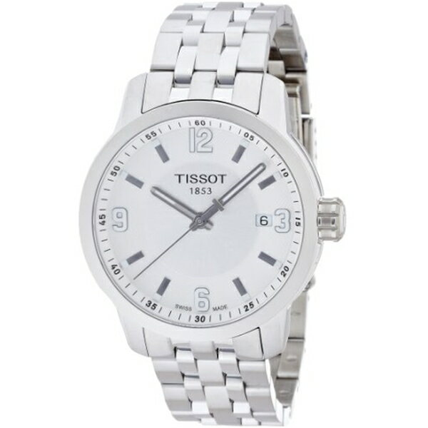 ティソ Tissot 腕時計 メンズ 時計 Tissot PRC 200 Quartz Silver Dial Stainless Steel Sport Mens Watch T0554101103700