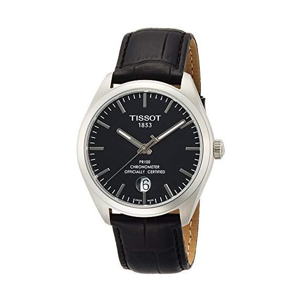 ティソ 腕時計 TISSOT T1014511605100 ウォッチ メンズ 男性用 Tissot T101.451.16.051.00 PR 100 COSC Men's Watch Black Leather