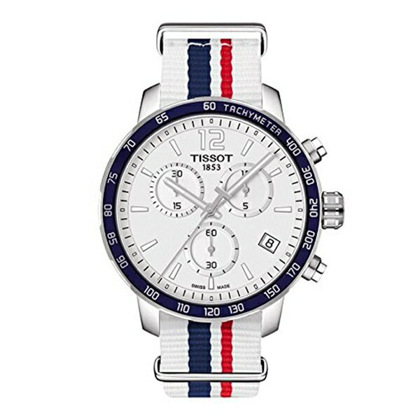 ティソ Tissot 腕時計 メンズ 時計 Tissot Quickster Nato Chronograph T095.417.17.037.09 White/White with Blue and Red Stripe Nylon