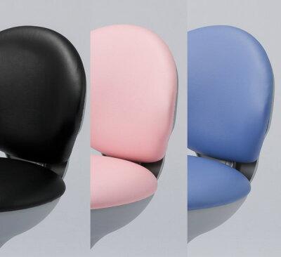 ワーキングスツールブルー|コロンとした丸いフォルムが柔らかい印象のスツールです。キャスター付き丸イスOAスツール美容院、サロン、エステ、カウンター、店舗受付などに!