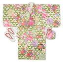 子供着物羽織のアンサンブル黄緑色羽織着物7〜8才用・9〜10才用洗えるポリエステルの着物、羽織、襦袢、帯、草履、巾着の仕立て上がりフルセットで送料無料