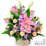 ピンクユリのアレンジメント花キューピット