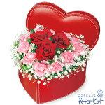 赤バラのハートボックスアレンジメント花キューピット