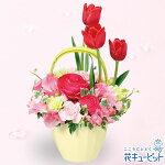 春のガーデンアレンジメント花キューピット