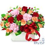 【お祝い】赤バラとリボンのアレンジメント