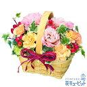 花キューピット【お見舞い】トルコキキョウのウッドバスケットyk00-512097 花 ギフト プレゼント