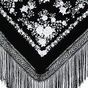 BF-1617 刺繍入りマントン/ブラック×ホワイト【フラメンコ用品】