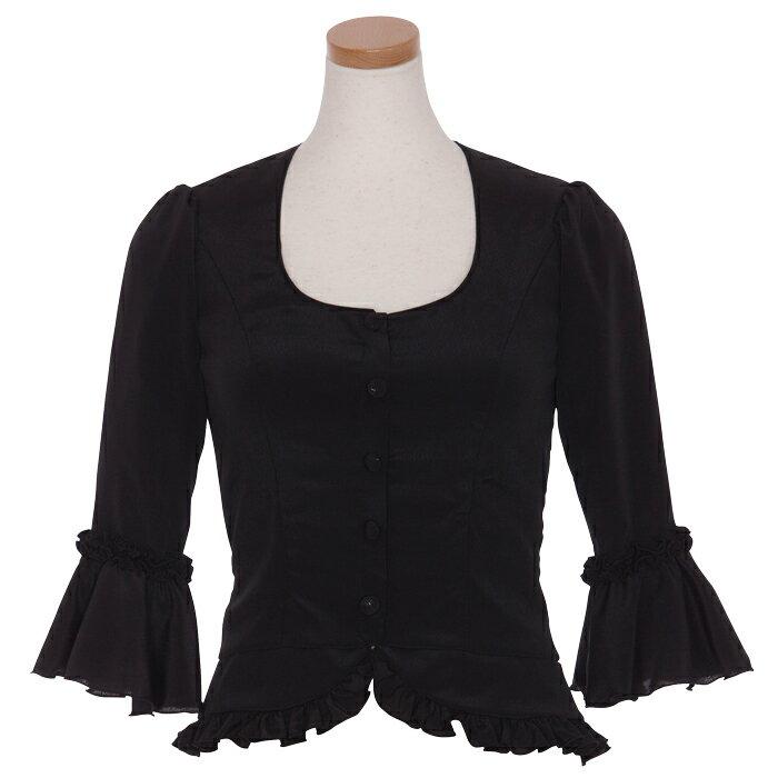 HB-1002A 裾フリル付き6分袖ブラウス/ブラック【日本製】【フラメンコ衣装】