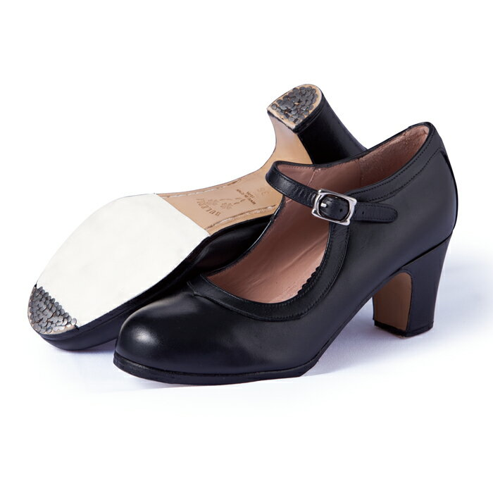 〈ブレリア・サバテス〉プロ/黒革【普通幅(B)】【靴】【フラメンコシューズ】:フラメンコのイベリア