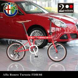 【送料無料】AlfaRomeoTuristaFDB18618インチコンパクト折りたたみサイクルシマノ6段変速ギア搭載13.1kg前後泥除けフェンダー搭載