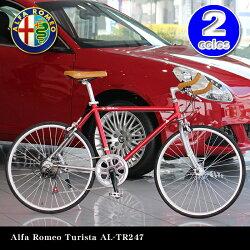 【送料無料】AlfaRomeoTuristaAL-TR247レッド24インチ軽量アルミフレームシマノ7段変速ギア搭載10.8kgブルホーンバーハンドル/前輪クイックレリーズハブ/フレンチバルブ搭載
