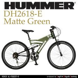 【送料無料】HUMMER(ハマー)シマノ18段変速軽量アルミフレームWサスペンション26インチマウンテンバイクHUMMERDH2618-E