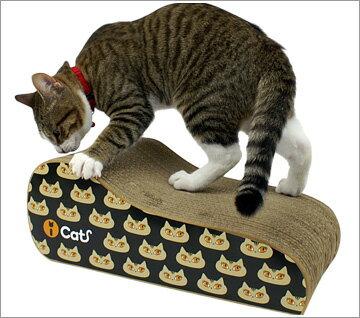猫がいっぱい♪ダンボール製の爪とぎ表裏でプリントの色が違うからお好きな向きで使ってね【i C...