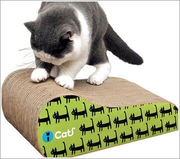 キュートな立ち猫が並んだダンボール製爪とぎ表裏でプリントの色が違うからお好きな向きで使っ...