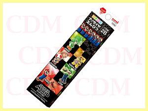【無料名入れ】スーパーマリオ ブラック柄 かきかた鉛筆 紙箱 2B