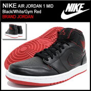 �ʥ���NIKE���ˡ�������������ѥ������硼����1�ߥå�Black/White/GymRed(nikeAIRJORDAN1MIDBRANDJORDAN�֥�å���SNEAKERMENS�������塼��SHOES554724-028)icefiledicefield��05P12Oct15��