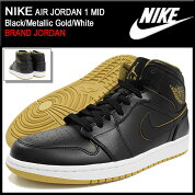 �ʥ���NIKE���ˡ�������������ѥ������硼����1�ߥå�Black/MetallicGold/White(nikeAIRJORDAN1MIDBRANDJORDAN�֥�å���SNEAKERMENS�������塼��SHOES554724-042)icefiledicefield