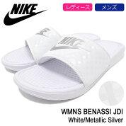 ナイキNIKEサンダルレディース&メンズウィメンズベナッシJDIWhite/MetallicSilver(nikeWMNSBENASSIJDIシャワーサンダルスポーツサンダルWOMENSウーマンズホワイト白SANDALLADIESMENS・靴シューズSHOES343881-102)