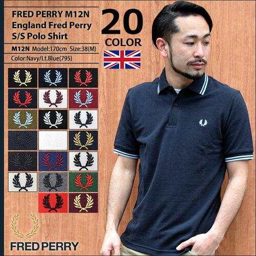 フレッドペリー FRED PERRY ポロシャツ ポロ 英国製 半袖 メンズ M12N イングラン...