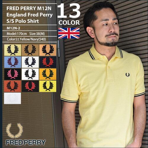 フレッドペリー FRED PERRY ポロシャツ 英国製 半袖 メンズ M12N イングランド フ...
