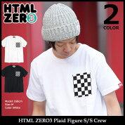 エイチティエムエルゼロスリーHTMLZERO3カットソー半袖メンズプレイドフィギュア(htmlzero3PlaidFigureS/SCrewポケットTシャツティーシャツT-SHIRTSトップスエイチティーエムエルHTML-CT199)icefiledicefield