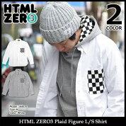 エイチティエムエルゼロスリーHTMLZERO3シャツ長袖メンズプレイドフィギュア(htmlzero3PlaidFigureL/SShirtカジュアルシャツトップスエイチティーエムエルHTML-SHT132)icefiledicefield