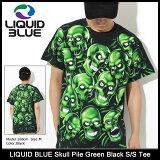 リキッド ブルー LIQUID BLUE Tシャツ 半袖 メンズ スカル パイル グリーン ブラック(LIQUIDBLUE Skull Pile Green Black S/S Tee ティーシャツ T-SHIRTS カットソー トップス メンズ 男性用)[M便 1/1] ice filed icefield