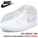 ナイキ NIKE スニーカー メンズ 男性用 エア ジョーダン 1 ミッド White/Pure Platinum/White(nike AIR JORDAN 1 MID BRAND JORDAN ホワイト 白 SNEAKER MENS・靴 シューズ SHOES 554724-108) ice filed icefield