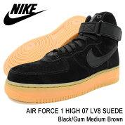 ナイキNIKEスニーカーメンズ男性用エアフォース1ハイ07LV8スエードBlack/GumMediumBrown(nikeAIRFORCE1HIGH07LV8SUEDEブラック黒SNEAKERMENS・靴シューズSHOESAA1118-001)icefiledicefield