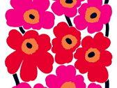 marimekko マリメッコ テーブルクロス UNIKKO(赤)(10cm単位の販売) 撥水加工(はっすい) ビニールコーティング まりめっこ