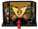 コンパクト 兜 ≪ 5292 兜大赤絵屏風付 ≫(毛バタキ付)  端午の節句 五月人形 兜飾り 鎧飾り ミニチュア 初節句 出産祝い 小さい