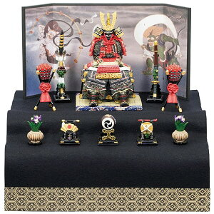 Armor decoration Compact 5260 Armor large red new two-stage decoration (with hair flap) Dano no festival May doll miniature figure first festival baby celebration two-stage decoration Fengjin Raijin