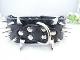 スタッズ・スパイクレザー首輪カラー幅5cm(36cm-61cm)革【送料無料】中型犬〜大型犬用