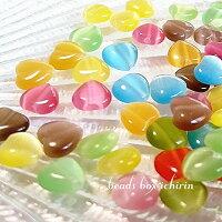 キャンディカラーのプチハート☆キャッツアイビーズ8mm30個セット