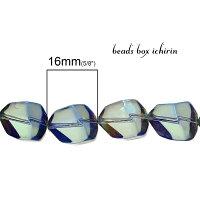 朝焼けの海☆ガラスビーズポリゴン(多角形)ABカラーメッキ16×12mm10個セット