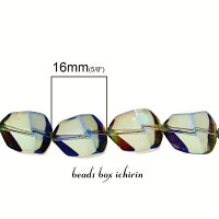 暁の空☆ガラスビーズポリゴン(多角形)ABカラーメッキ16×12mm10個セット
