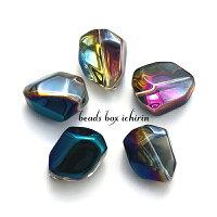 アンドロメダ☆ニュアンスカラーのガラスビーズポリゴン(多角形)ABカラーメッキ16×12mm10個セット