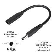 USB-PD-DCプラグ変換コネクターUSBType-C-DCプラグ外径4.5mm-内径3.0mmDELLInspironXPSなど対応USBパワーデリバリー用変換アダプターPowerDelivery20V対応ACアダプター専用ICONSHOPIC-C2DE45ポスト投函便対応