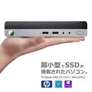 【中古】HPProDesk400G3MiniSSD128GB/メモリ4GBCeleronG3900T/Win10Pro64bit搭載デスクトップパソコン中古ミニPC【RCP】宅急便配送