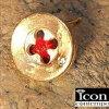 K18,K10ヴィンテージサテン赤い糸&ボタン(ダイヤモンド)シングルピアス