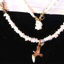 珊瑚通販専門店ランキング27位 K18PG白本珊瑚カモメSeagullネックレス